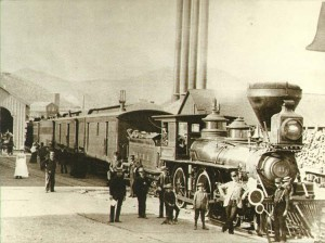 "Virginia & Truckee Railroad's No. 11, ""The Reno"" prepares to leave Virginia City, about 1885. (Note the smoke stack difference which usually means it is burning wood. A straight stack burns coal.)"