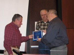 CWSD Chairman Bob Milz and Vice-Chairman Kelly Kite recognize Andy Aldax for his lifetime of work in the Carson River Watershed by awarding him the first annual award.