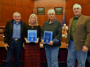 Judy Wickwire and Genie Azad receive Andy Aldax award from CWSD Chairman Ernie Schank & Andy Aldax.